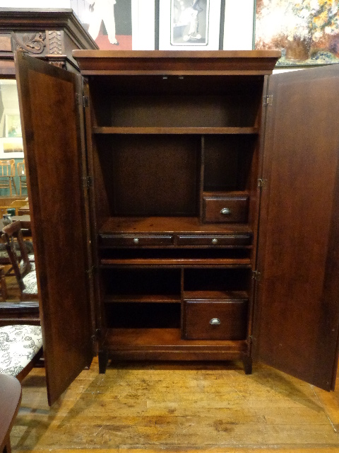 Office Computer Armoire Pull-Out Desk – Printer Shelf – File