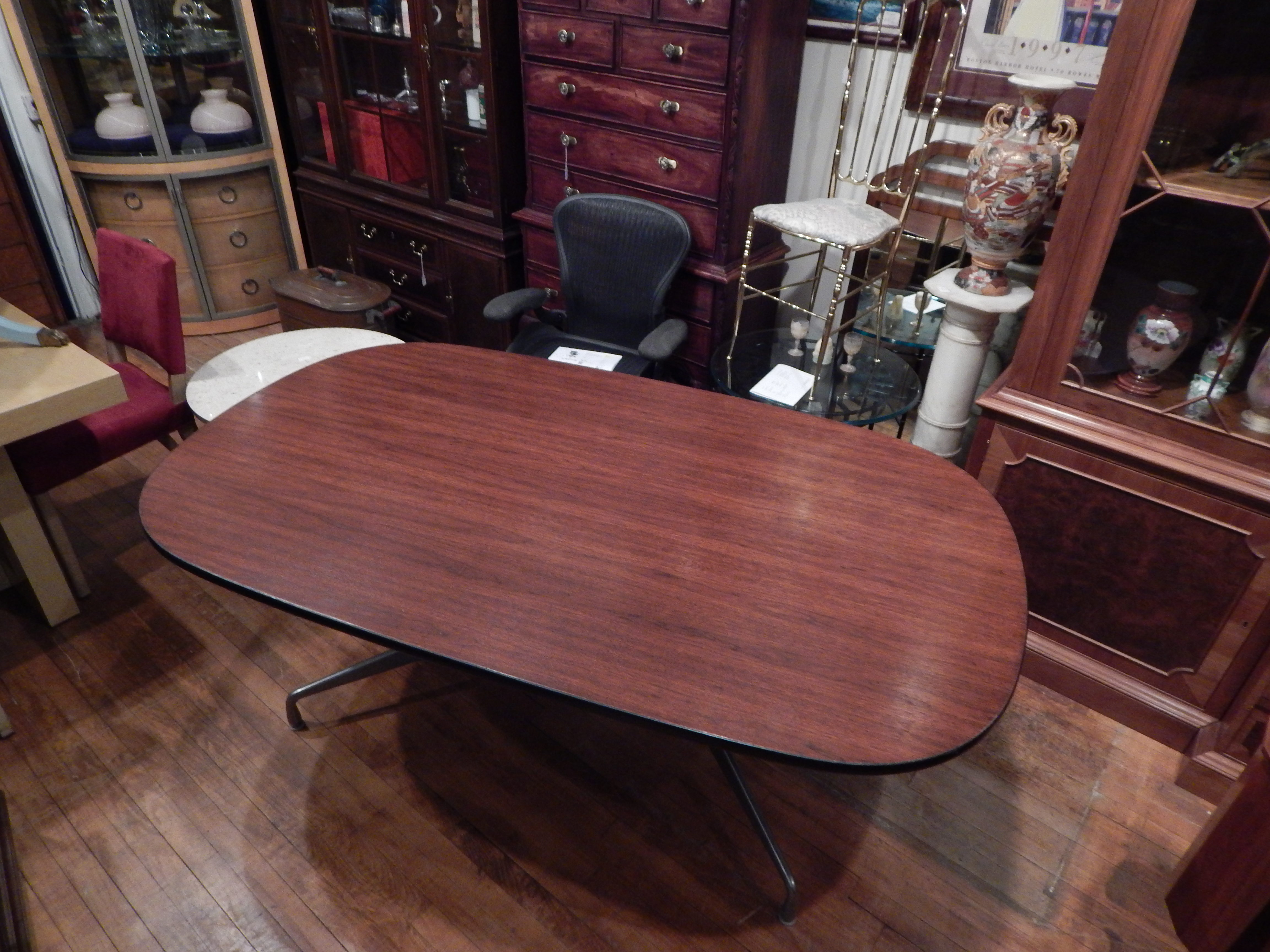 Herman Miller Eames Aluminum Group Walnut Conference Table Desk - Eames oval conference table