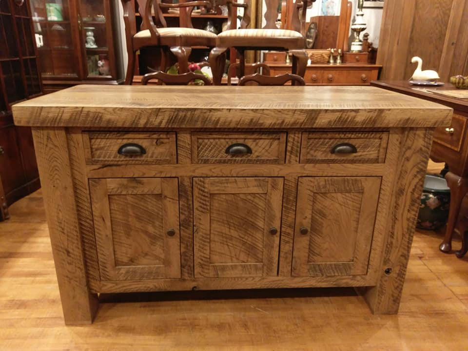 Reclaimed barn-wood kitchen island / server / buffet ...